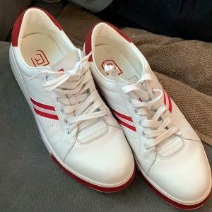 Mens White & Red Leather Fashion Sneakers 12 M